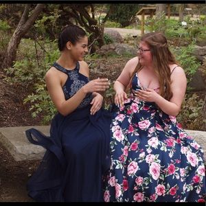 Navy blue long prom dress with beading